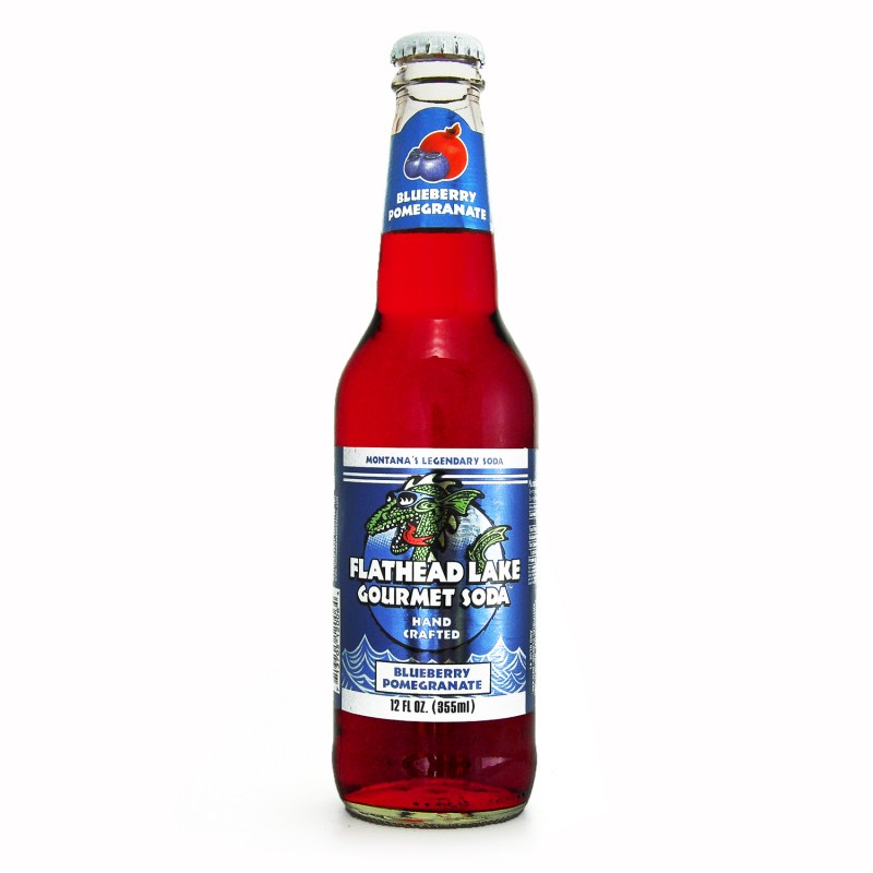 Retro Flathead Lake Blueberry Pomegranate Soda in a Glass Bottle