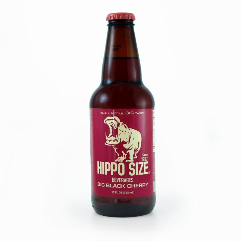 Retro Hippo Black Cherry Soda in a Glass Bottle