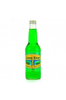 Retro Green River Soda in a Glass Bottle